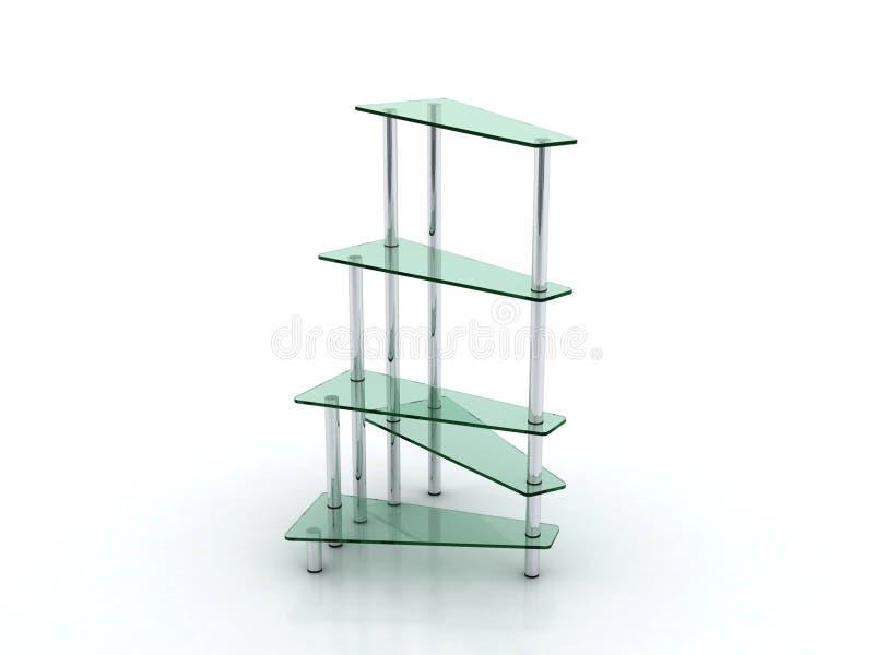 Glas- und Metallregalmöbelauslegung stock abbildung