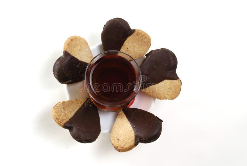 Glas und Schokolade stockbild
