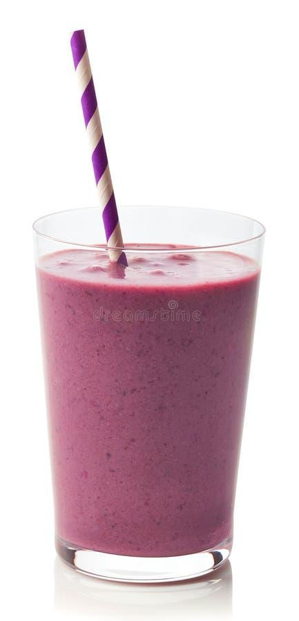 Glas van braambes smoothie stock fotografie