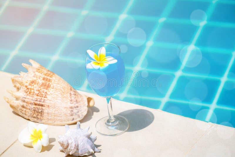 Glas van cocktail bij zwembad in de zomer stock foto