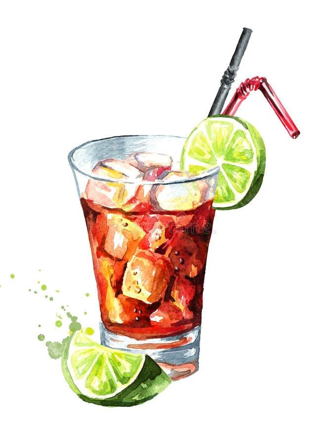 Glas van de cocktail van Cuba Libre met kalk Waterverfhand getrokken die illustratie, op witte achtergrond wordt geïsoleerd stock illustratie