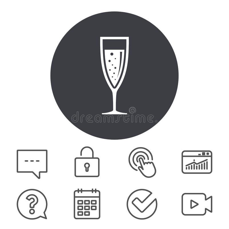 Glas van het pictogram van het wijnteken Alcoholdrank stock illustratie