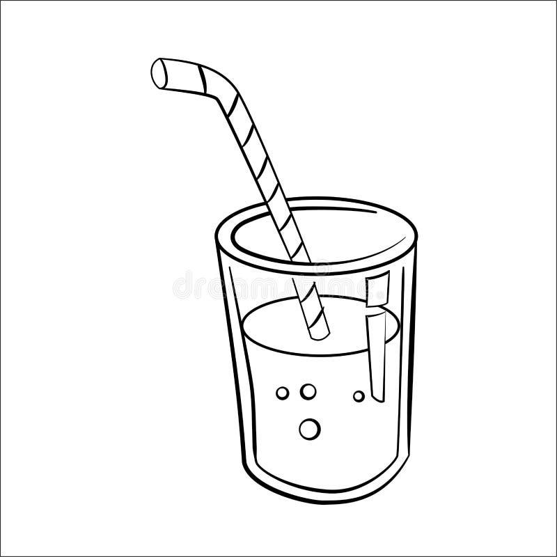 Glas van Juice Cartoon - Lijn Getrokken Vector royalty-vrije illustratie