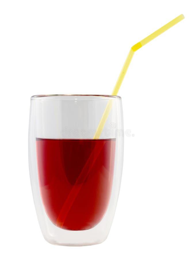 Glas van kleurrijke drank met stro stock afbeelding