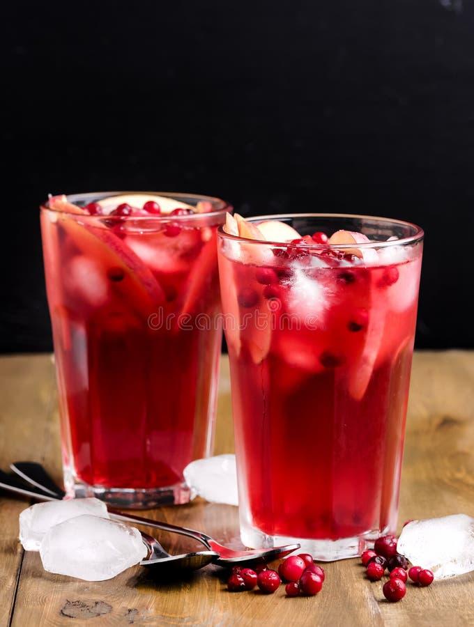 Glas van Koude de Winterdrank met Vers Amerikaanse veenbes en Koud de Drankijs Verticaal Berry Ice Tea van Apple royalty-vrije stock foto's