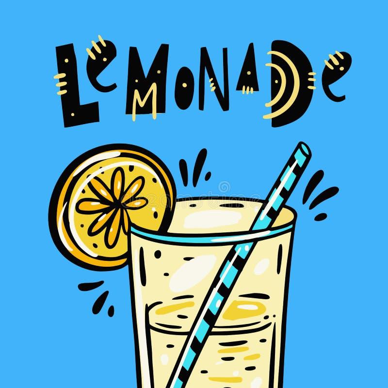 Glas van Limonade hand het getrokken vectorillustratie en van letters voorzien De stijl van het beeldverhaal Ge?soleerd op blauwe vector illustratie