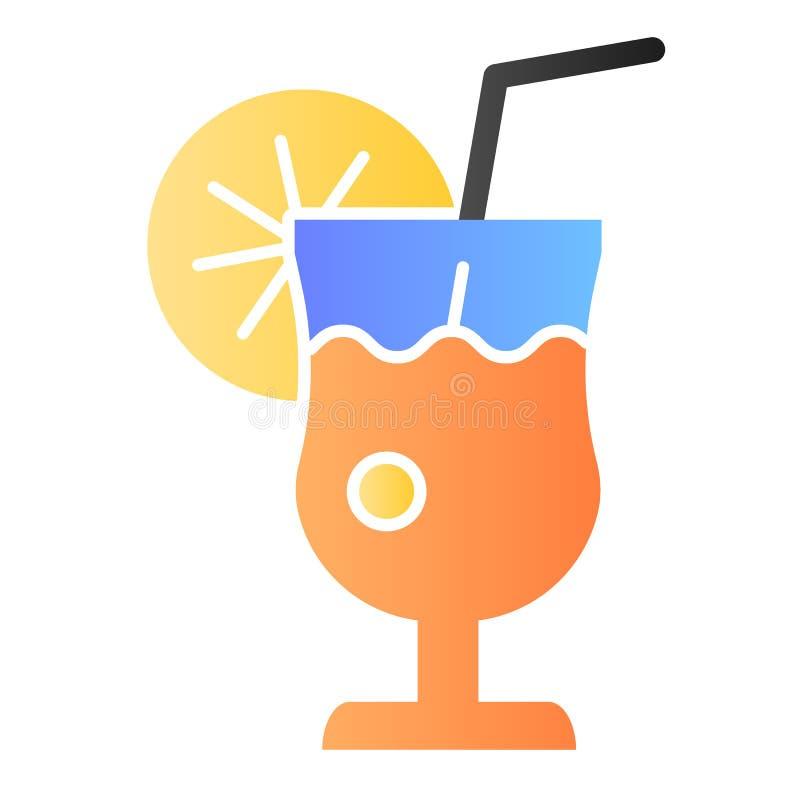 Glas van limonade vlak pictogram De verse pictogrammen van de drankkleur in in vlakke stijl Het de stijlontwerp van de citroensap stock illustratie