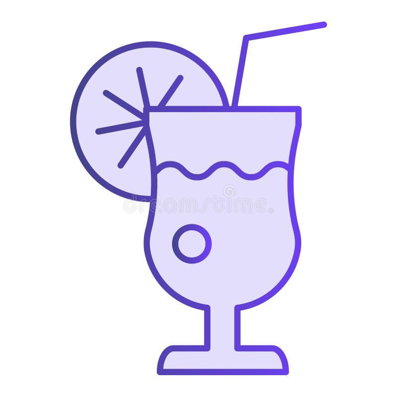 Glas van limonade vlak pictogram Verse drank violette pictogrammen in in vlakke stijl Het de stijlontwerp van de citroensapgradië stock illustratie