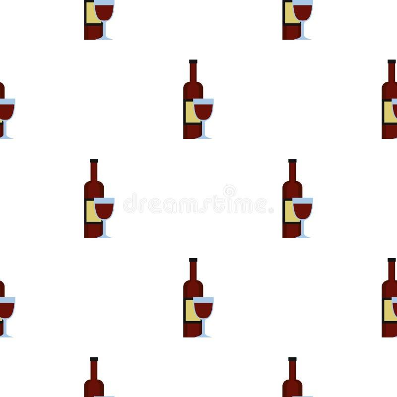 Glas van rode wijn en een naadloos flessenpatroon vector illustratie