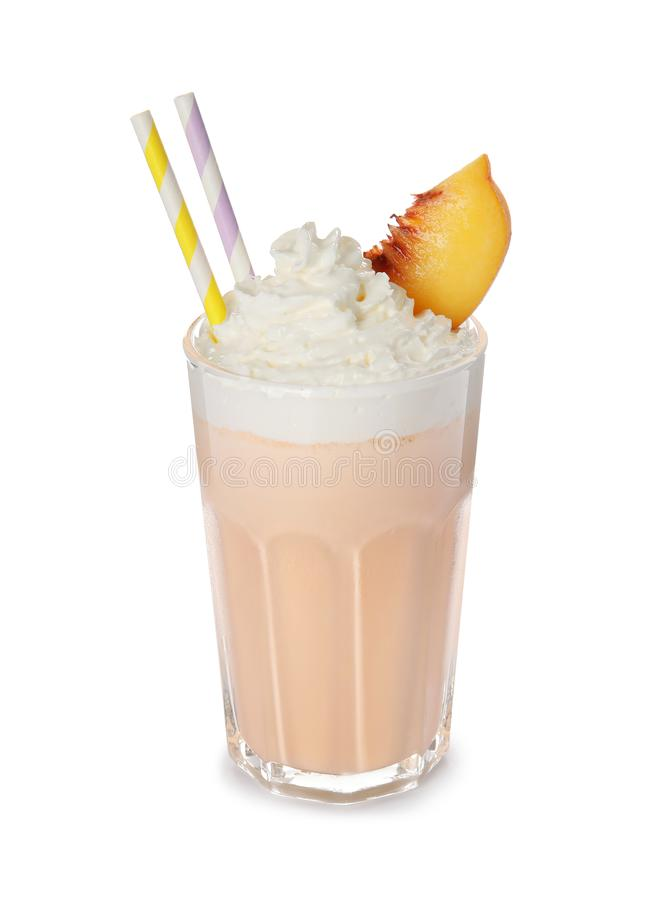Glas van smakelijke milkshake stock afbeelding