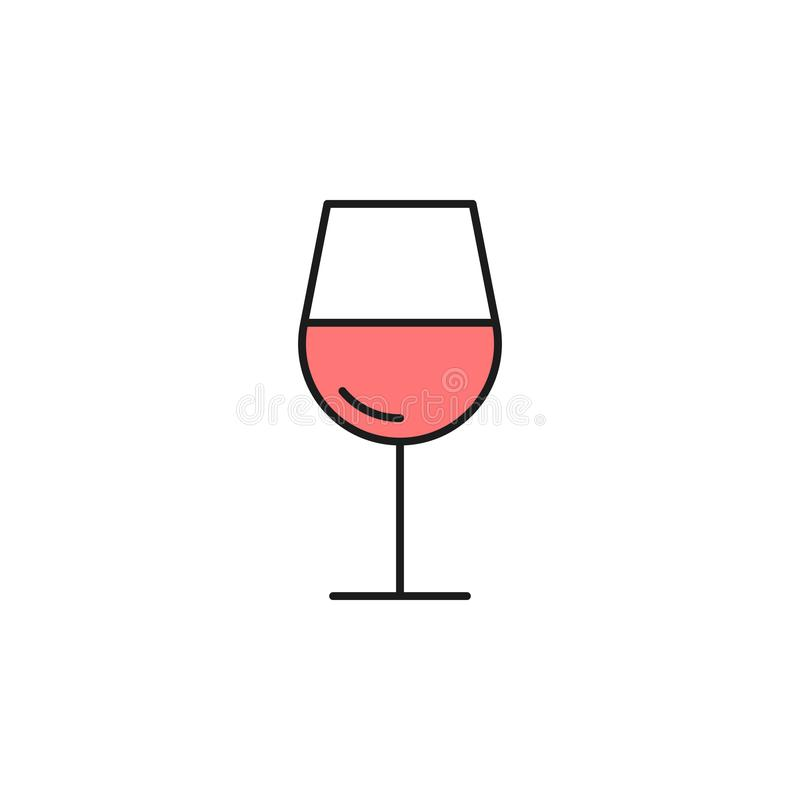 glas van wijn gekleurd overzichtspictogram Element van voedselpictogram voor mobiel concept en Web apps Het dunne lijnglas van wi royalty-vrije illustratie