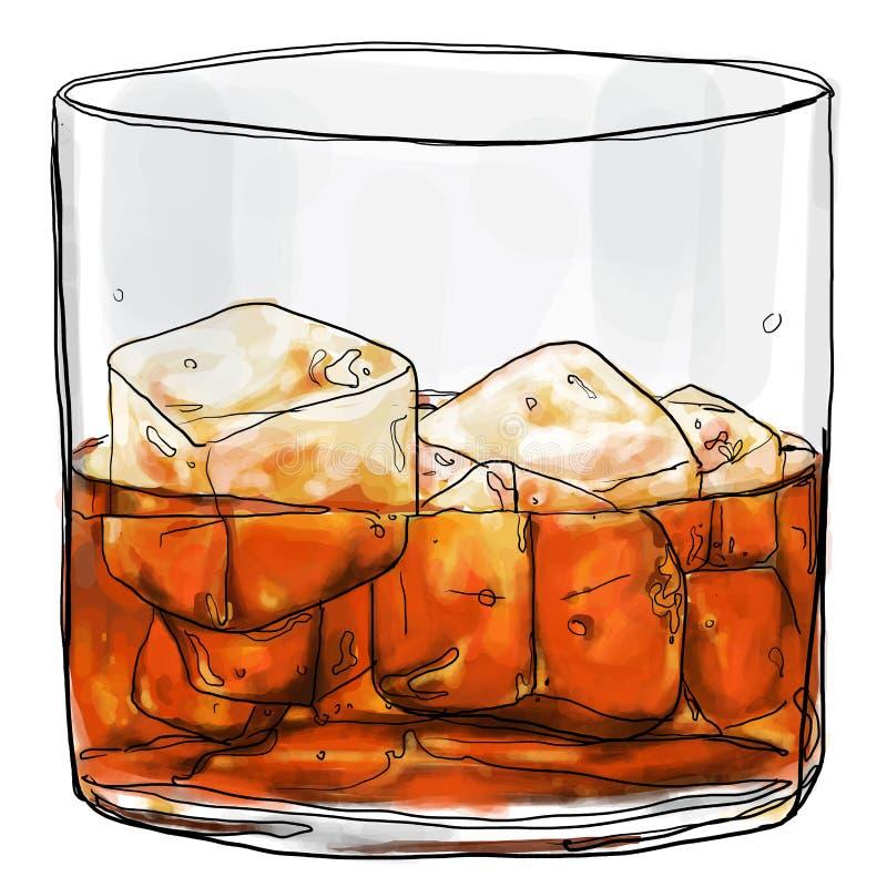 Glas van wisky het schilderen stock illustratie