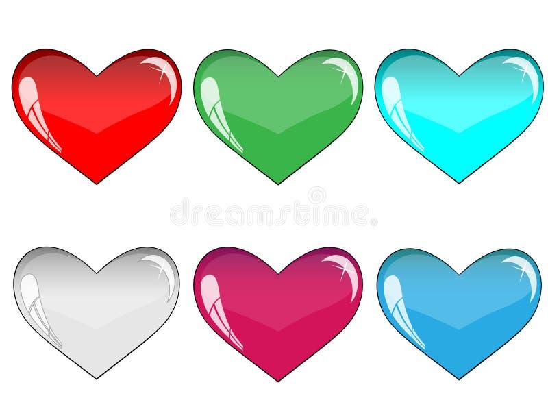 Glas veel-gekleurde harten stock afbeeldingen