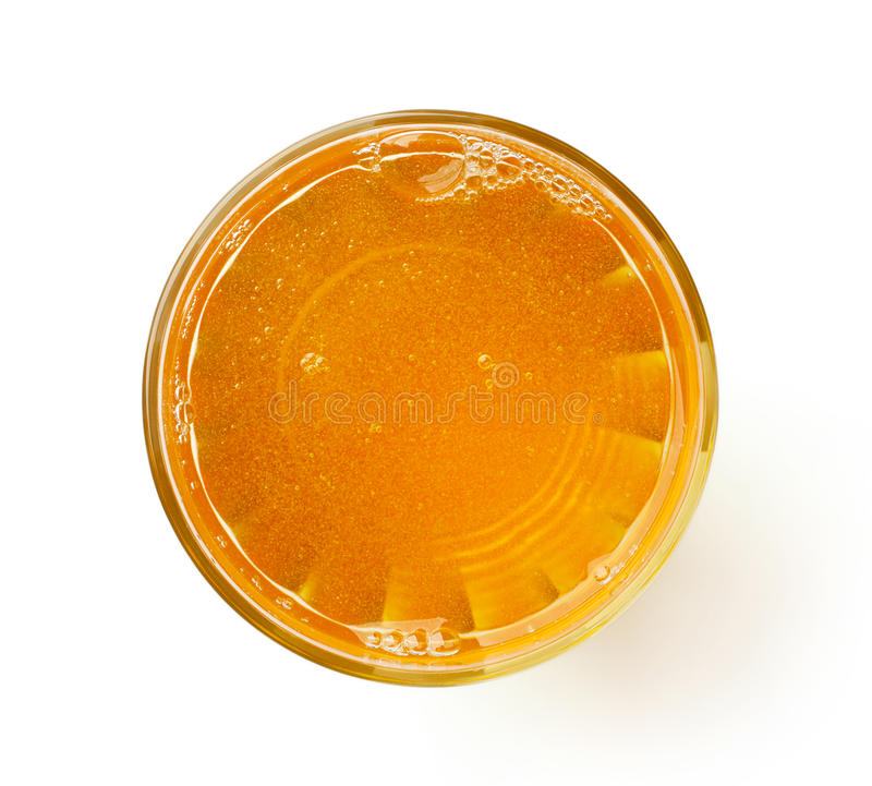 Glas vers die appelsap op wit, hierboven wordt geïsoleerd van royalty-vrije stock foto