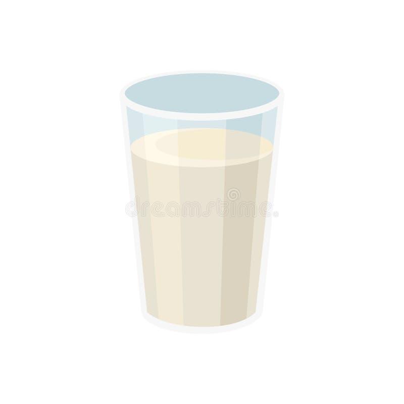 Glas verse melk Drank voor ontbijt Organisch zuivelproduct Vlak vectorontwerp voor promoaffiche of banner stock illustratie