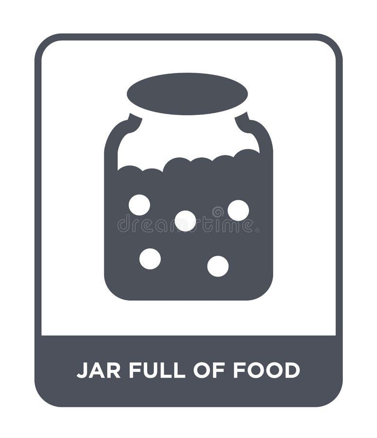 Glas voll der Nahrungsmittelikone in der modischen Entwurfsart Glas voll der Nahrungsmittelikone lokalisiert auf weißem Hintergru lizenzfreie abbildung