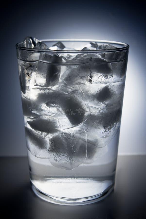 Glas voll vom Eis und vom Wasser stockfotografie