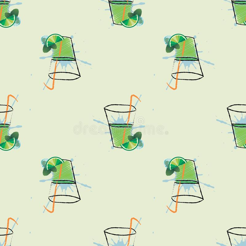 Glas von mojito Cocktail mit Minze und Scheibe des Kalkes Vector nahtloses Muster vektor abbildung