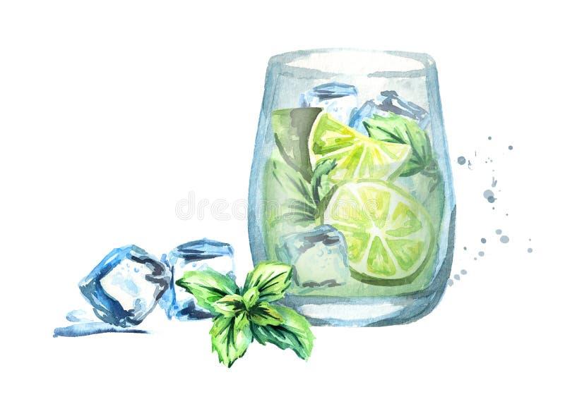 Glas von Mojito mit Eis, Kalk und Minze Gezeichnete Illustration des Aquarells Hand vektor abbildung