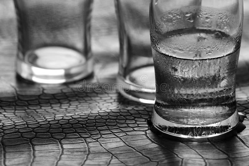 Glas von wasser- Schwarzweiss stockfotografie