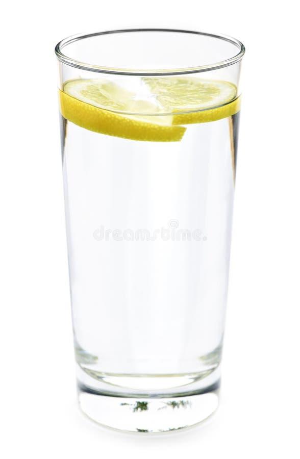 Glas Wasser mit Zitrone stockbilder