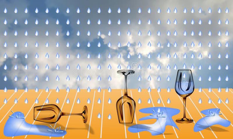 Glas water in regen royalty-vrije illustratie