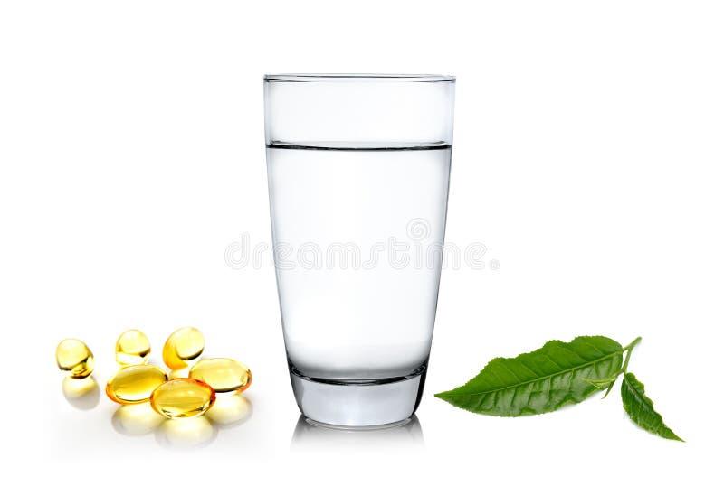 Glas water wiith groene theeblad en vistraan op whi royalty-vrije stock foto