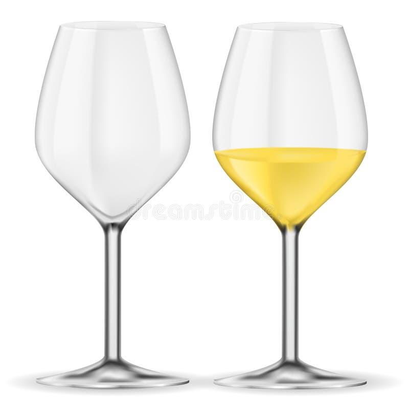 Glas weißer Wein Leer und voll lizenzfreie abbildung