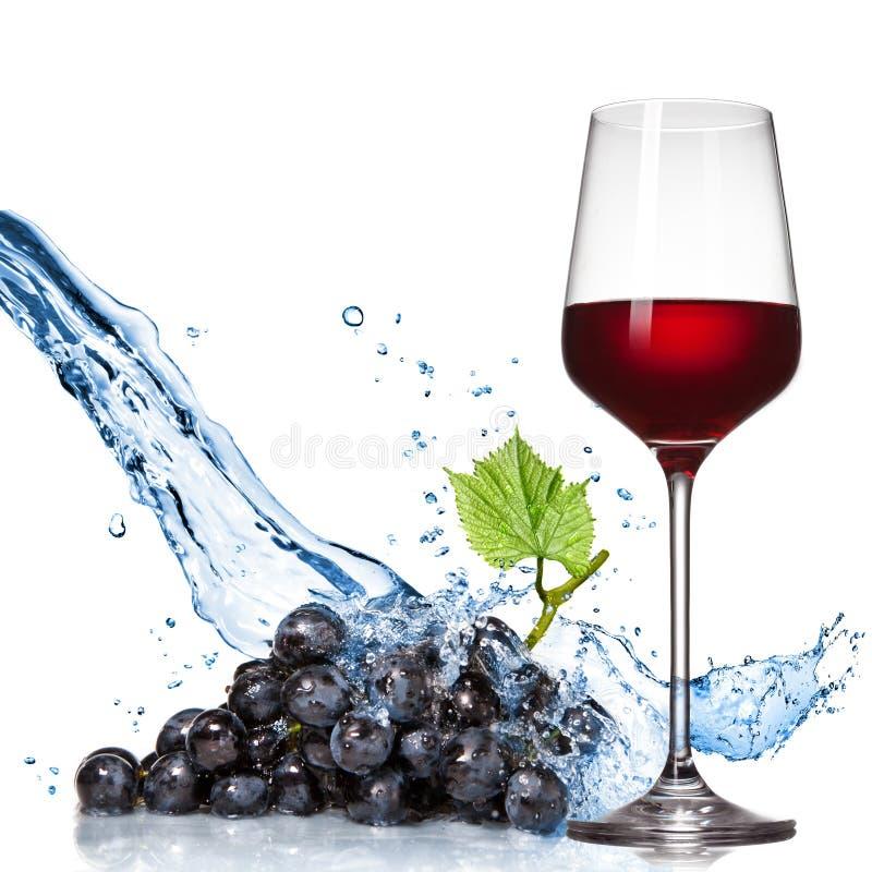 Glas Wein mit blauer Traube und Wasser spritzt lizenzfreies stockbild