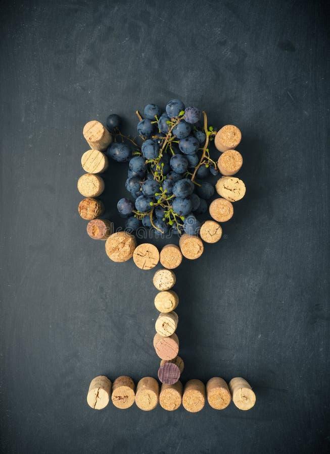 Glas Wein mit Trauben lizenzfreie stockfotografie