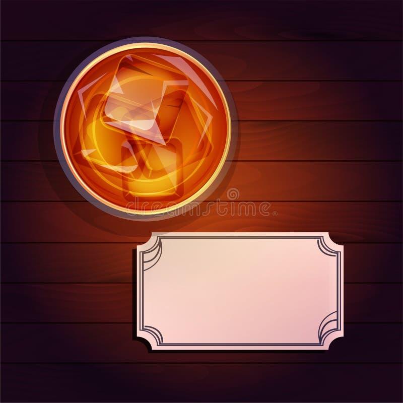 Glas whisky, adreskaartje royalty-vrije illustratie
