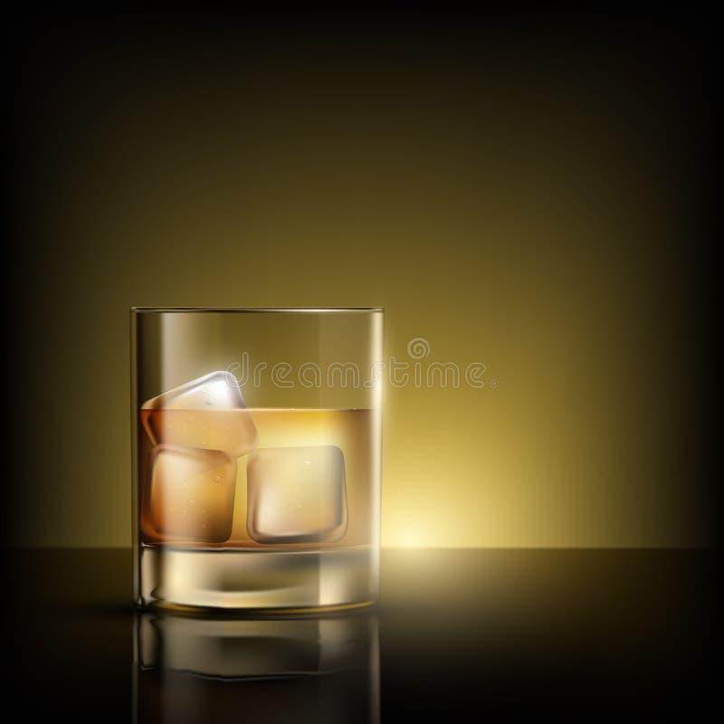 Glas whisky met ijs royalty-vrije illustratie