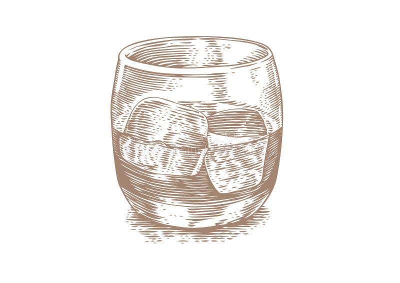Glas Whisky mit Eis lizenzfreie abbildung