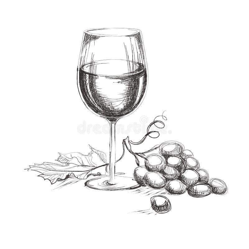 Glas wijn met druif Hand getrokken wijnconcept stock illustratie