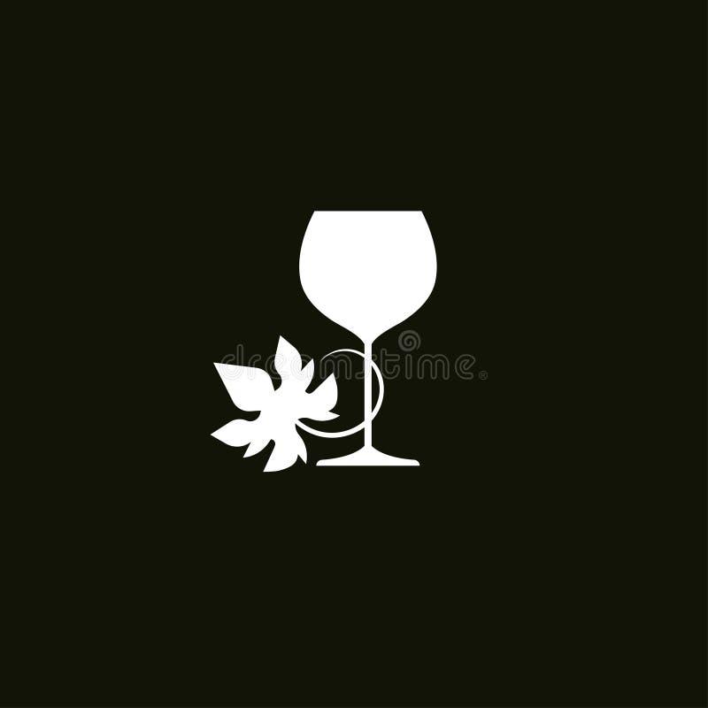 Glas wijn met druivenblad royalty-vrije illustratie