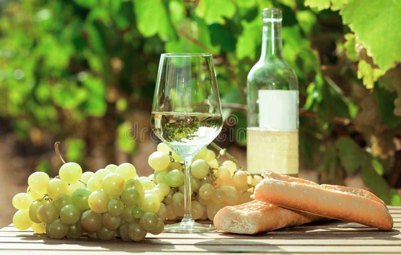 Glas Wit wijn rijp druiven en brood op lijst in wijngaard stock foto's