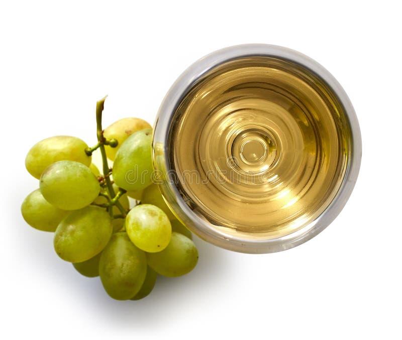 Glas Witte Wijn en Druiven stock afbeeldingen