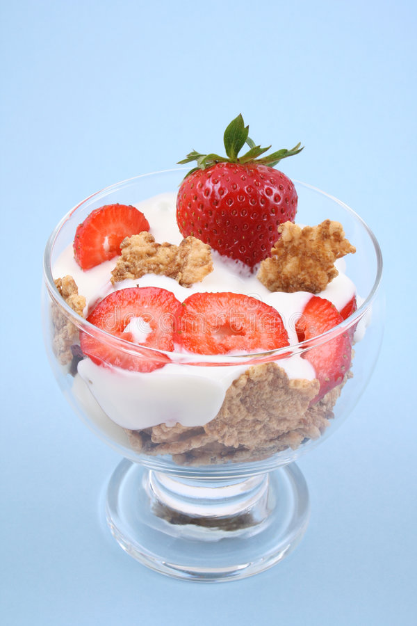 Glas yoghurt royalty-vrije stock afbeelding