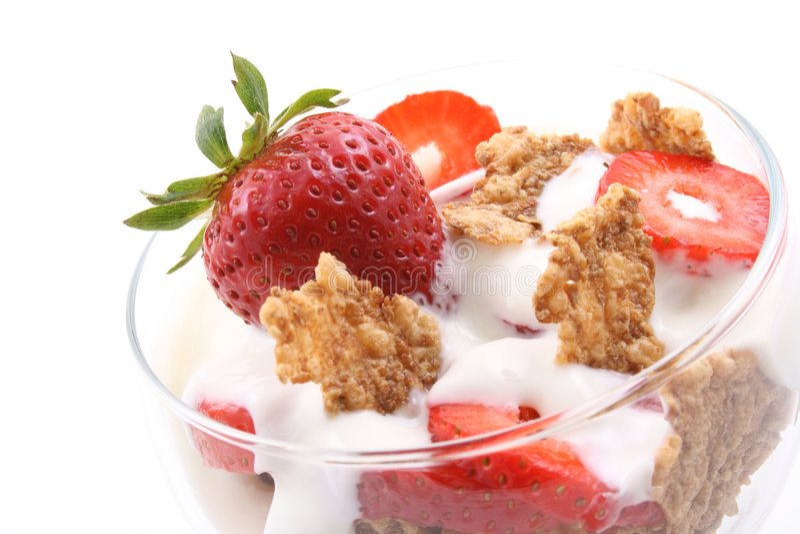 Glas yoghurt stock foto's