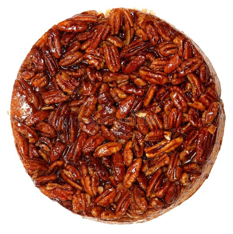 Glasad rostad kaka för kanelbrun bulle för pecannöt arkivbilder