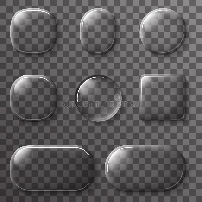 Glasapp UI van het ontwerpelementen van Knopenpictogrammen de Transparante Vectorillustratie stock illustratie