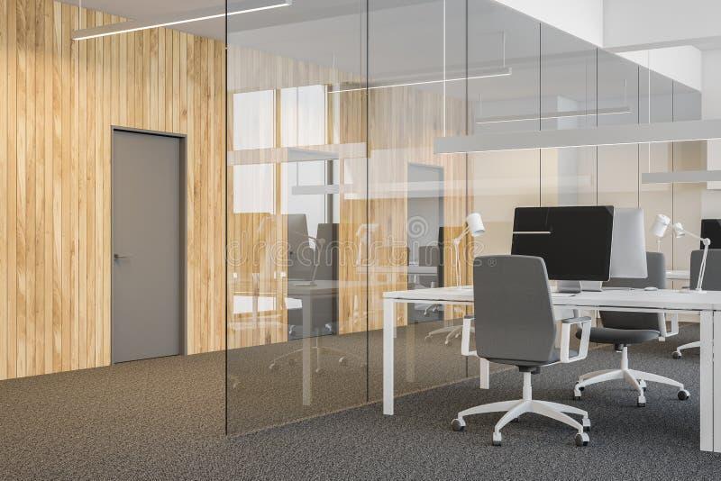 Glasbüro des offenen Raumes, Türen schließen oben lizenzfreie abbildung