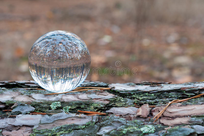 Glasbal of orb voor het fortunetelling, het soothsaying stock foto