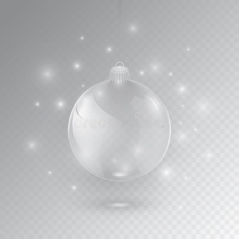 Glasbal voor Kerstmis en NY stock illustratie