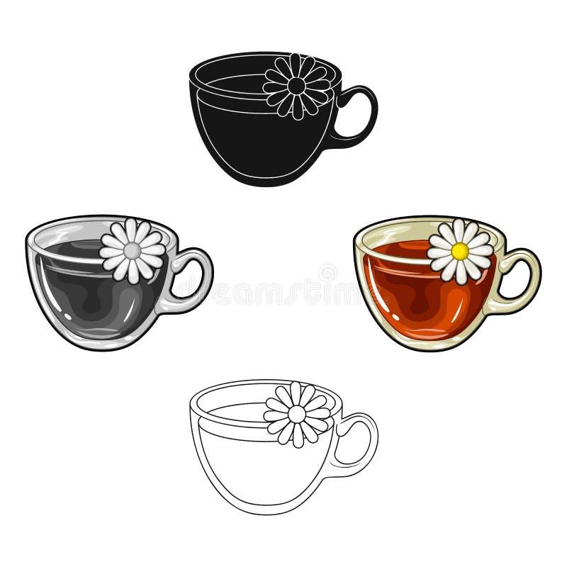 Glasbecher mit dem Tee n?tzlich Vegetarischer therapeutischer Kamillentee Einzelne Ikone der Vegetarier-Teller in der Karikatur,  lizenzfreie abbildung