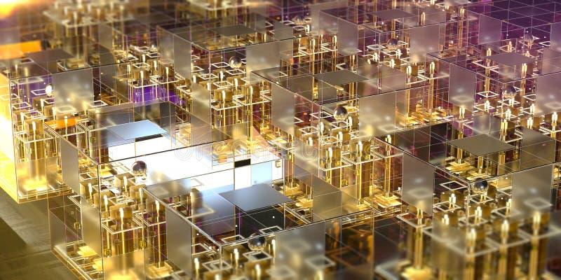 Glasblok met gloeiende micro- spaanders in hen en abstracte structuren Het nieuwe techologiesneural netwerken 3d teruggeven stock illustratie
