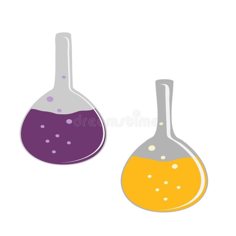 Glasbol transparant met vloeistof Chemisch kegelglas met bellen Vlakke illustratie van glasbol op een witte achtergrond vector illustratie