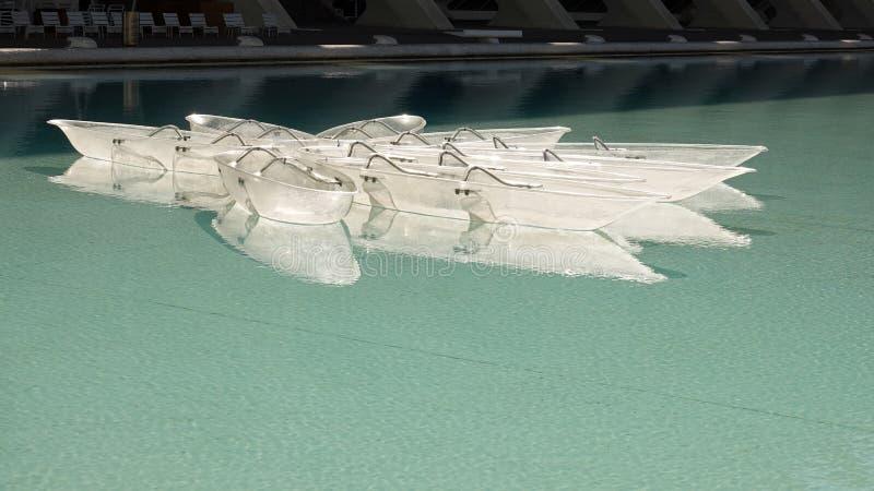 Glasboten in Stad van Kunsten en Wetenschappen in Valencia, Spanje stock foto