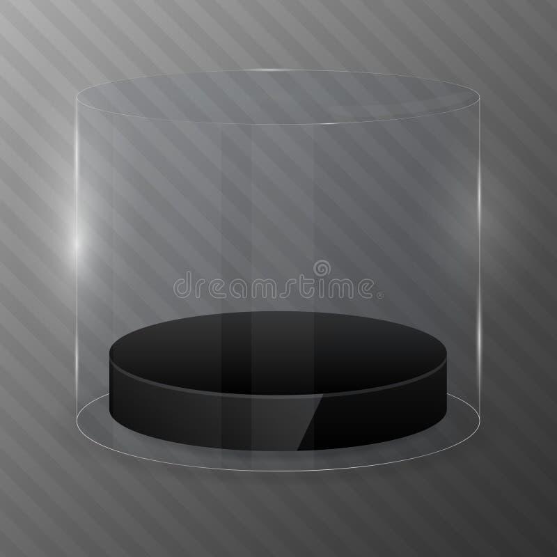 Glascilinder met zwart podium Het malplaatje van het ontwerp stock illustratie