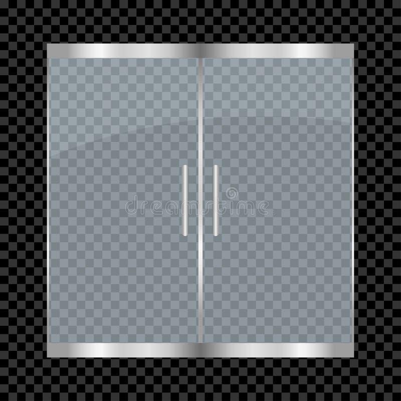 Glasdeur op transparante achtergrond wordt geïsoleerd die Ingangs dubbele deuren voor wandelgalerij, bureau, winkel, opslag, bout stock illustratie